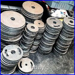 0Olympic Style Steel Weight Plates 1 2 bars 1.25 2.5 5 10 20 Gym Fitness Power