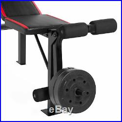 100 lb Lift Set Vinyl Weight Bench with Bar and Weightlifting Exercise Press
