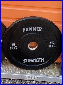 100kg Hammer Strength Bumper Plates For Olympic Bar. Gym Quality