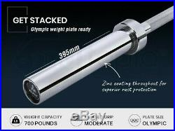 20kg 2.2m Olympic Barbell 700lb Includes Collars Bar Standard Weight Lifting 7ft