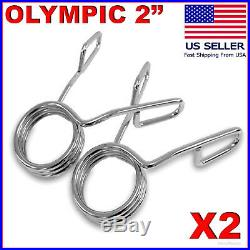 2 X Olympic 2 Spring Collar Weight Bars Clips Dumbbell Barbell Clamp Bar Gym