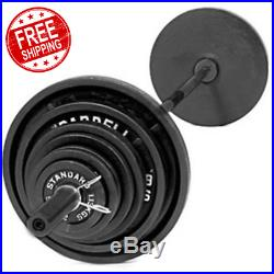 300 lbs CAST IRON OLYMPIC WEIGHT SET 7 ft Bar Grip Plates Lifting Collars Gym