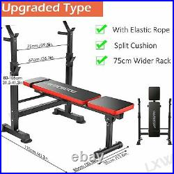 330lbs Adjustable Olympic Weight Bench With Weights & Bar for Full Body Workout