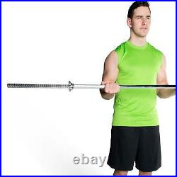 60 Inch Threaded Chrome Barbell Bar For Weight Plates 1 With Ring Collars 200LB