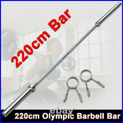 7FT Olympic Barbell Bar Work Out Home Gym Weight Lifting Bar with 2 Spring Collars
