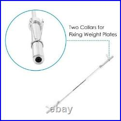 7Ft 330lb Olympic Chrome Bar Weight Lifting Barbell Rod for Workout Gym Training