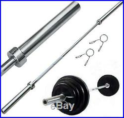 7 Ft Weight Bar Collars Solid Iron Workout Gym Barbell Weight Bench Training