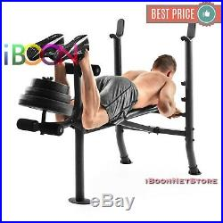 ADJUSTABLE LIFTING WEIGHT BENCH SET With Weights And Bar 100 Press Workout Flat