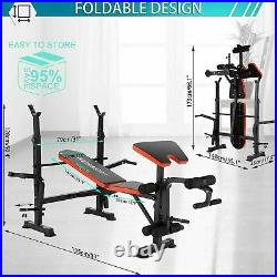 ADJUSTABLE LIFTING WEIGHT BENCH SET With Weights And Bar 330 Press Workout Flat