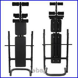 ADJUSTABLE LIFTING WEIGHT BENCH SET With Weights And Bar 440Press Workout Flat