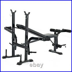 ADJUSTABLE LIFTING WEIGHT BENCH SET With Weights And Bar 440 Press Workout Flat
