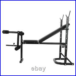 ADJUSTABLE LIFTING WEIGHT BENCH SET With Weights Bar Barbell Dumbbell Workout
