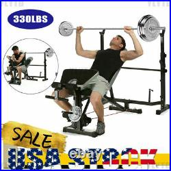 ADJUSTABLE LIFTING WEIGHT BENCH SET withWeights And Bar 330 Press Workout Flat-Lot