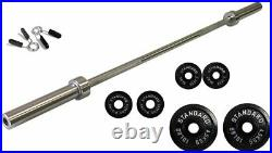 Ader 60'' Chrome Barbell Set with 17.5 lb Olympic Black Plates, Free Bar Pad