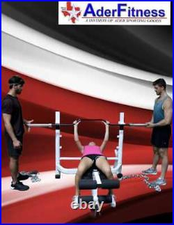 Ader Olympic 7' Black Cambered Bench Press Bar with Chrome Sleeve