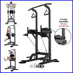 Adjustable Dip Station Chin Pull Up Bar Power Tower Push Home Gym Core Fitness