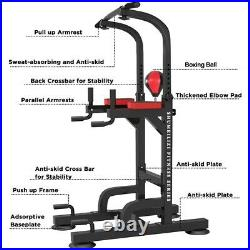 Adjustable Dip Station Chin Pull Up Bar Power Tower Workout Gym Fitness Core US