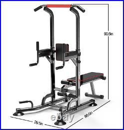Adjustable Dip Station Chin Up Bar Power Tower Pull Push Home Gym Core With Bench