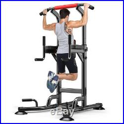 Adjustable Power Tower Station Dip Chin Up Bar Raise Pull Push Home Gym Fitness