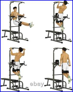 Adjustable Power Tower with Bench Pull Up Bar Dip Station Strength Training 400LBS