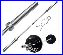 Barbell Olympic Bar Set 7' 2 Collars 45lbs Weight Lifting Training Home Gym NEW