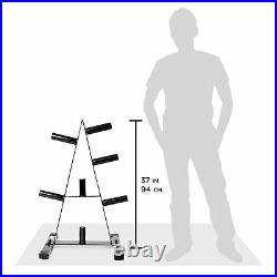Barbell Plate Tree Rack Weights Stand 2 Inch Frame Olympic Holder Cap Solid Bar