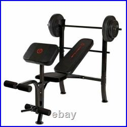 Bench Press Home Gym Workout Adjustable Equipment with 80 lb Weight Set & Bar