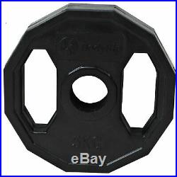 BodyRip Olympic Polygonal Weights Set 130KG 6FT Barbell Bar Plates Collars Gym