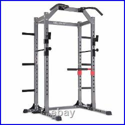 Body Power Deluxe Rack Cage with Accessories, Safety Bars, Floor-Mount Anchors