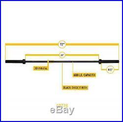 Body-Solid 6' Olympic Bar Black OB72B Strength Training 600 lb Capacity