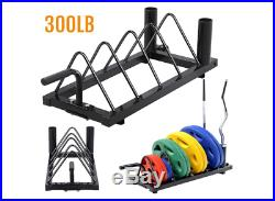 Bumper Plate Weight Lifting Olympic Bar Barbell Rack Holder Stand Tree Storage