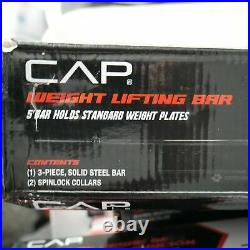 CAP 5 Ft Barbell Weightlifting Bar With Collars and 50 lb of Weight Plates 61.5 lb