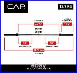 CAP Barbell 2-Inch 6 ft Black Solid Olympic Weight Bar IN HAND SHIPS FAST