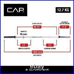 CAP Barbell 2-Inch Solid Olympic Weight Bar, 6 ft