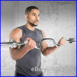 CAP Barbell 48 Olympic Super Curl EZ Easy Bar, 2 in. Chrome NEW with collars