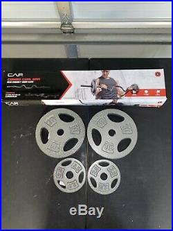 CAP Combo Curl Bar Ez Bar SET With Lock Collars And 25 lbs Of Stand Weight Plates