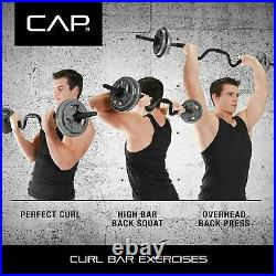 CAP Combo Curl Bar With Lock Collars and 30 lbs of Weight Plates 41.5 lbs Total