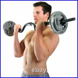 CAP Combo Curl Bar With Lock Collars and 50 lbs of Weight Plates 61.5 lbs Total