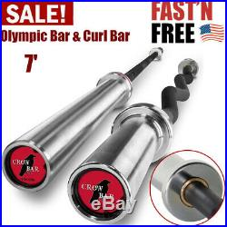 Crowbar Olympic Bar & Curl Bar Combo 7' Barbell Weight For Home Fitness Workout