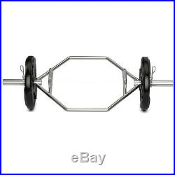 Deadlift Bar Olympic Hexagon Weight Lifting Hex Trap Squat with 2 Snap Springs