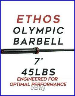 Ethos 45lb 45 lbs Olympic Barbell Bar 7' L 2 Plates 1000 lb Capacity CALIBRATED