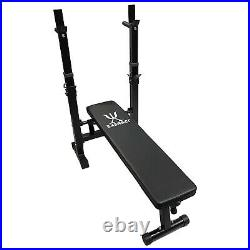 Exersci Compact Foldable Bench with Rack and Dip Bars Fitness, Weightlifting