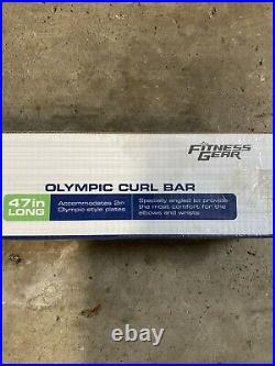 Fitness Gear 47in Olympic Curl Bar 2 with Collars Home Workout Fast Ship