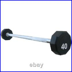 Fitness Weighted Straight Barbell 10-Sided Fixed Urethane Encased Home Gym Bar