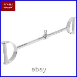 Flat Chrome LAT Bar D Handle Pull Machine Strength Cable Attachments Down Tricep