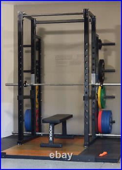 Full Cage Squat Rack, Rogue 2.0 Bench, (2) Rogue Bars, Weight Lifting Platform