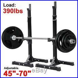 Fully Adjustable Heavy Duty Steel Squat Station Bench Press Bar Weight Lift Rack