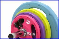 FunctionalFitness 40kg Studio Body Pump Set Chrome Bar & Coloured Rubber Discs