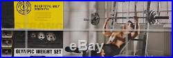 Golds Gym Weights Set Olympic 110 lbs Bar Cast Iron Plates Gold Barbell with Mug