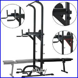 Gym Home Power Tower Pull Up Bar Dip Station with Sit Up Bench Exercise Equipment